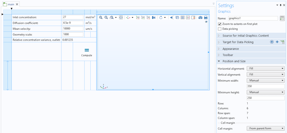 The Form Editor during Grid mode with a Graphics object that can be easily resized.