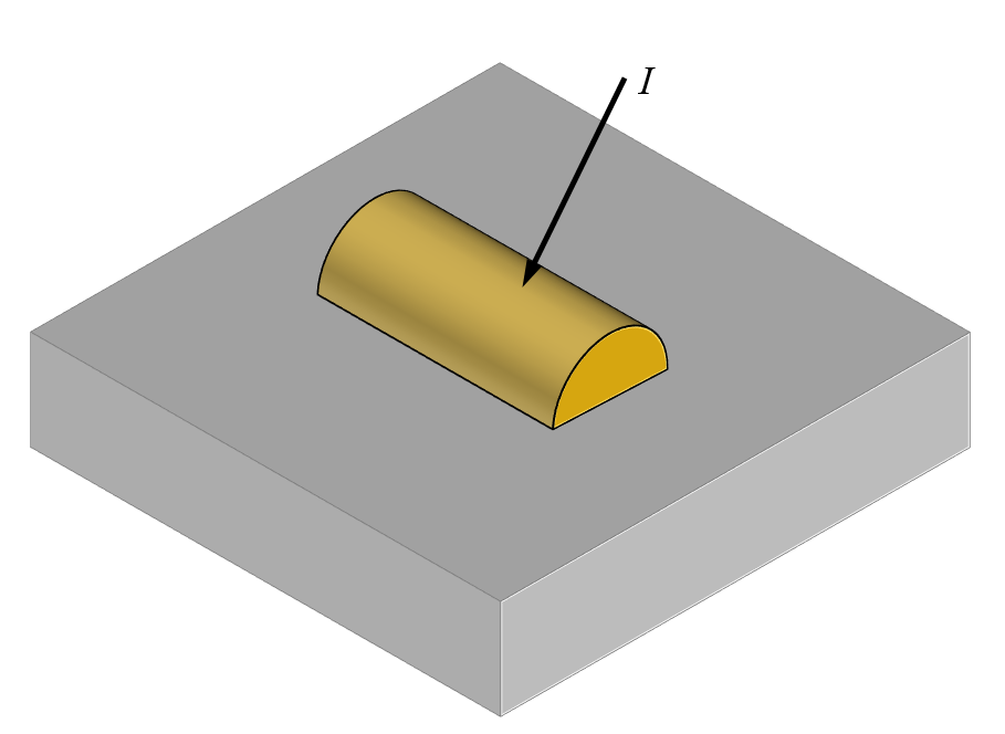 A schematic of a light incident on a single scatterer on a dielectric substrate.
