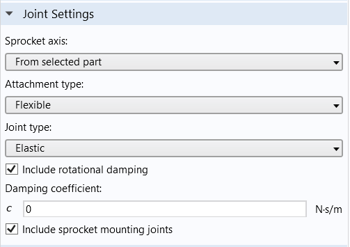 A screenshot of the Joint Settings section of the Chain Drive node.