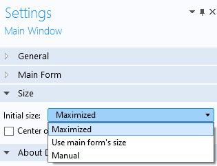 A screenshot of the Main Window Settings window with the Initial size options open.