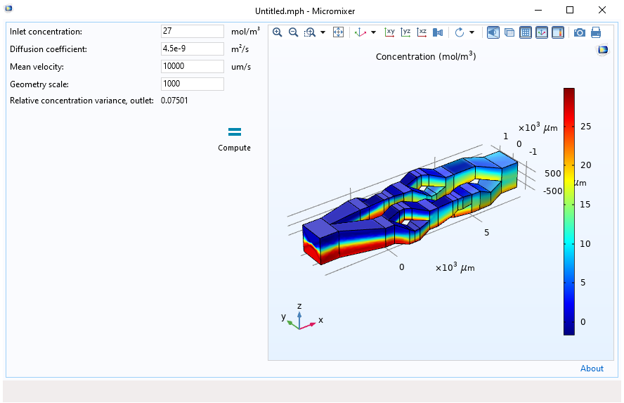 The micromixer simulation app, built in the Application Builder in COMSOL Multiphysics, in its first design iteration.