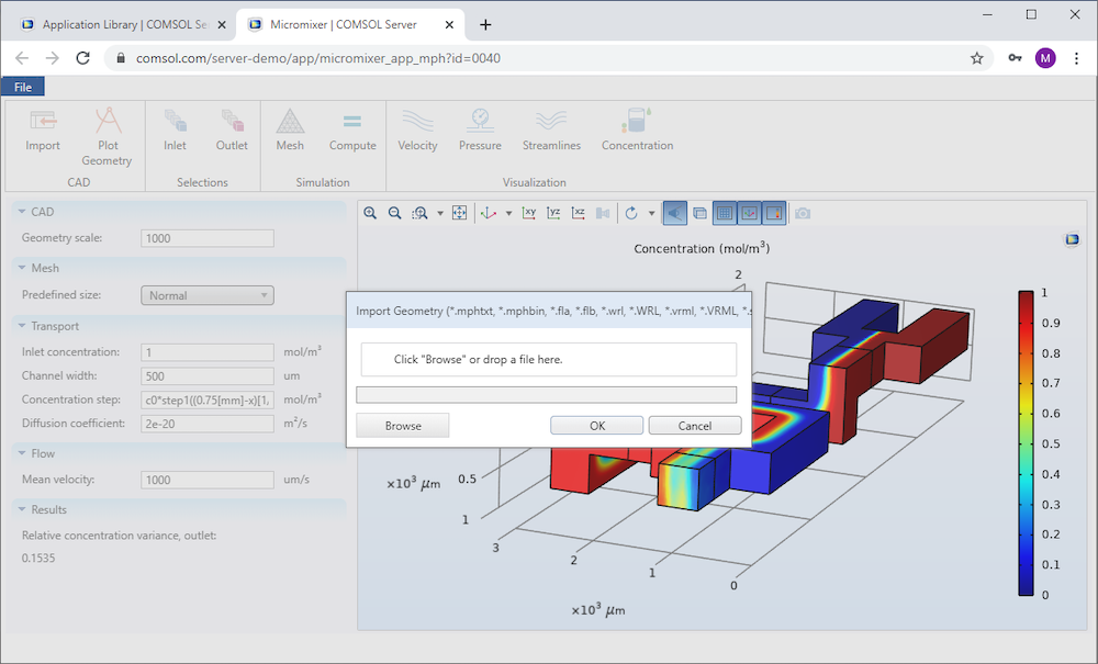 The micromixer simulation app with CAD import functionality being run on a web browser via COMSOL Server™.