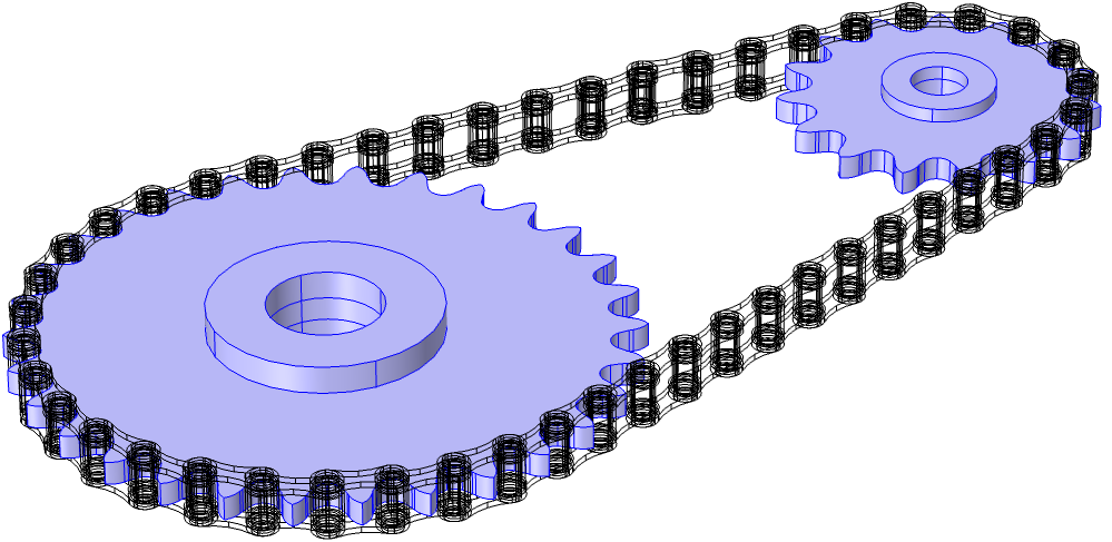 An image showing the sprockets selected in a model when creating Rigid Domain nodes.
