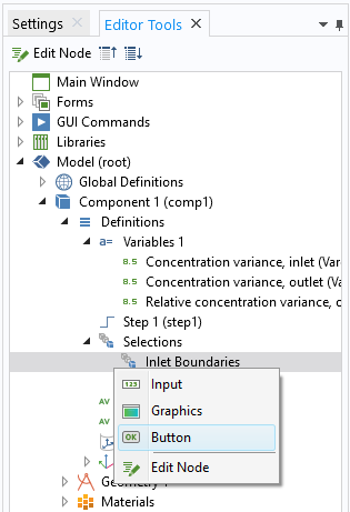 The Editor Tools window with the option expanded to add a button for selecting inlet boundaries.