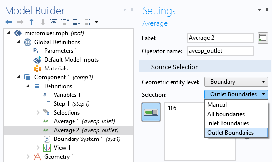 The Settings window for the boundary average operators, showing the selection settings.