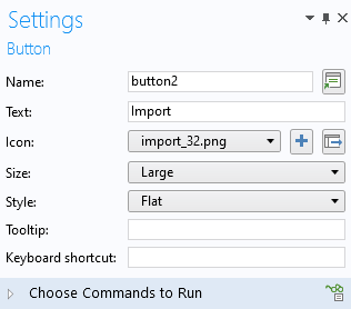 A screenshot of the settings for the Import button in the micromixer simulation app.