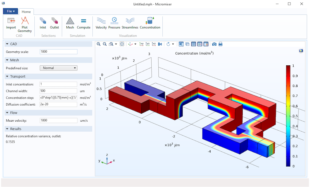 An interactive simulation app with a specialized user interface that allows for cad import and selection.
