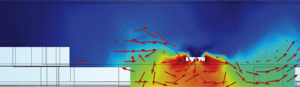 A streamline plot showing the microbubbles in a reservoir in COMSOL Multiphysics®, which is one example of using simulation to help the environment.