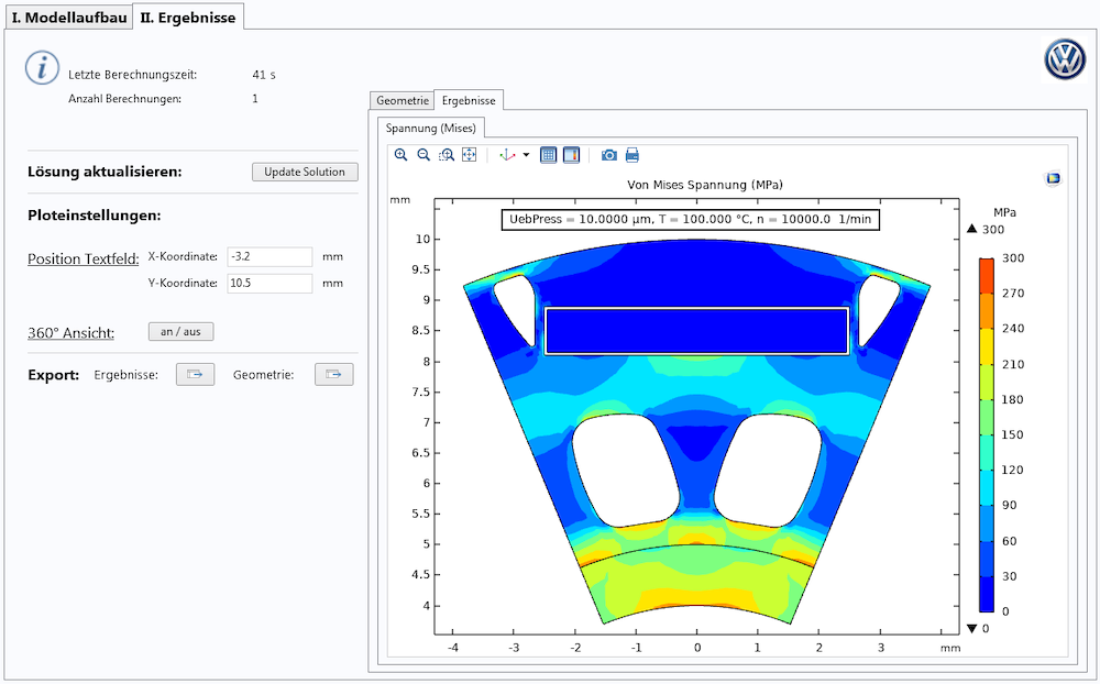 A screenshot of a simulation application built to study stress in rotors for electric vehicle drives.