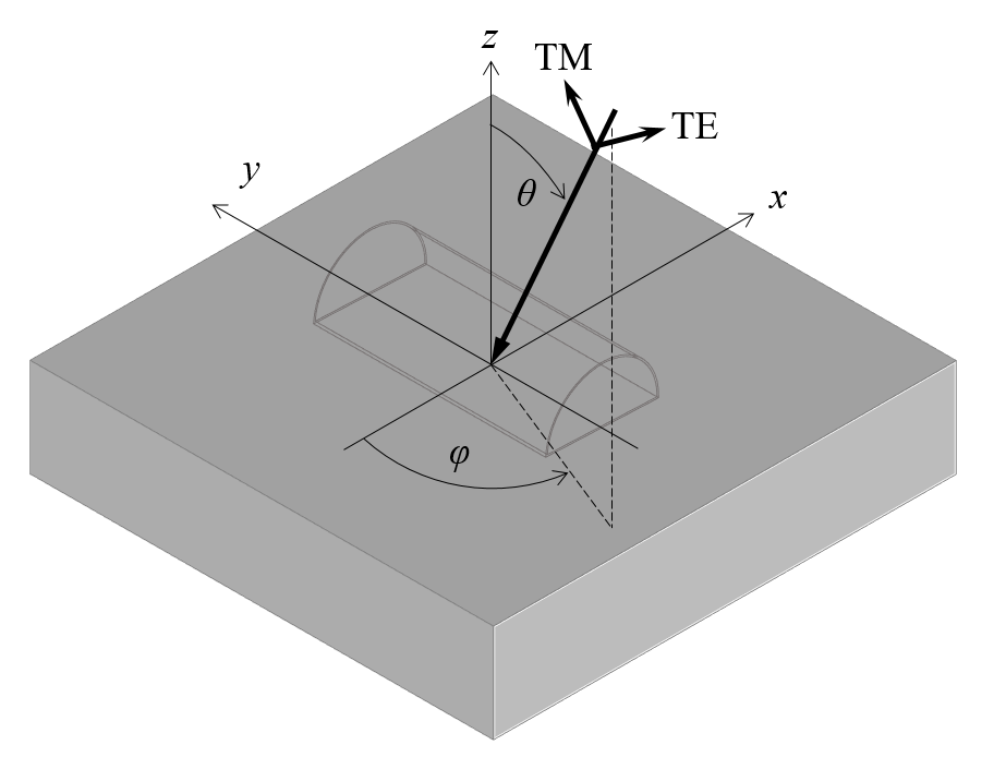 A schematic showing the TE- and TM-polarized components of the incident plane wave.