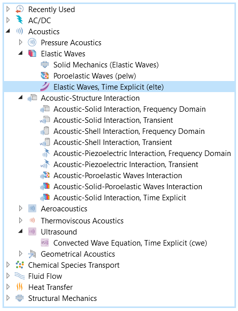 The list of Acoustics interfaces, with the Elastic Waves, Time Explicit interface highlighted in the Elastic Waves interface folder.