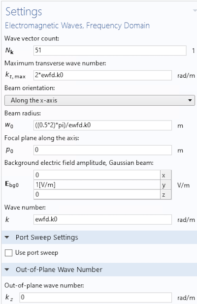 The settings window for implementing an evanescent wave into a 2D model.