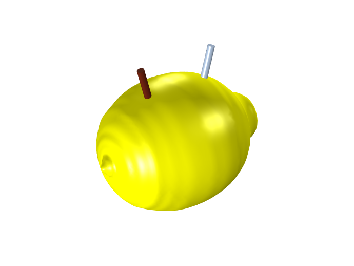 A model of a lemon battery with both a copper and zinc electrode.