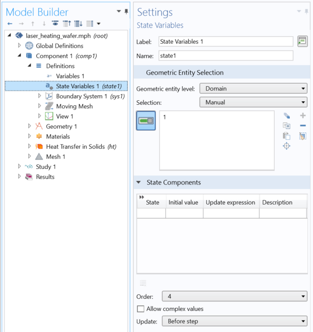 A screenshot of the Settings window for the State Variables functionality in COMSOL Multiphysics.