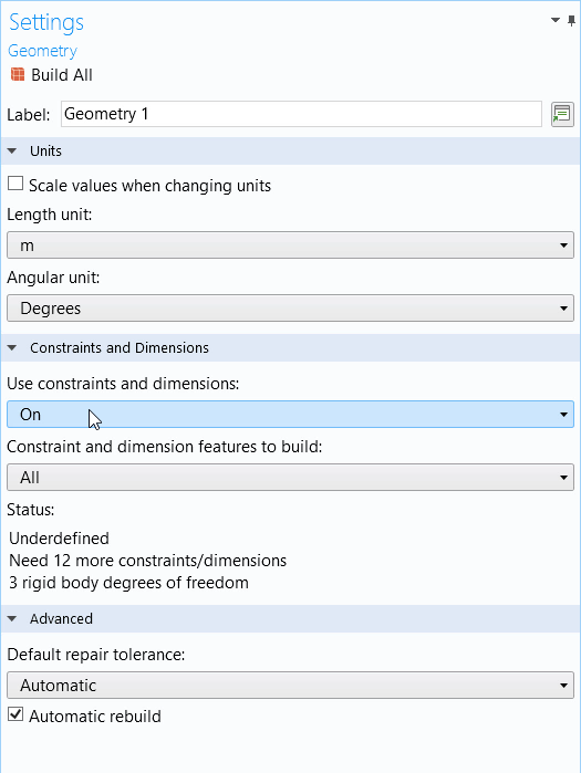 A screenshot of the Geometry Settings window for inputting constraints and dimensions in the Design Module.