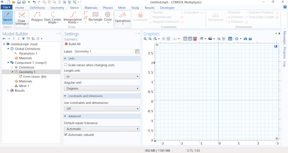 A screenshot showing the Graphics window in the Model Builder with the Sketch mode enabled and grid lines shown.