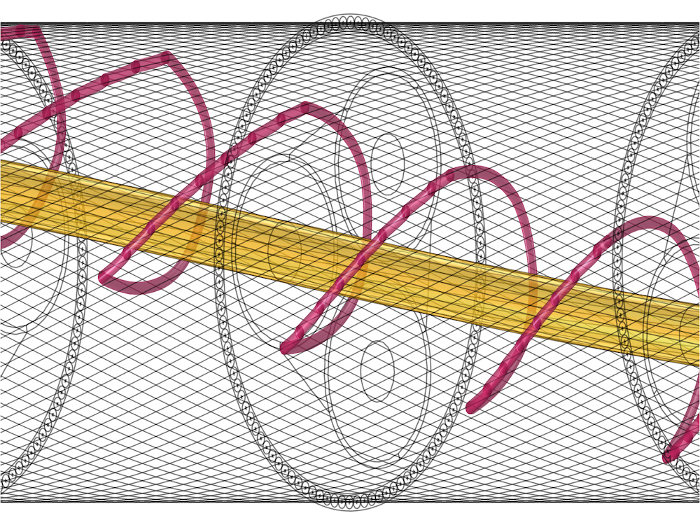 An image of the path of the magnetic flux lines from wire to wire in the submarine coil.