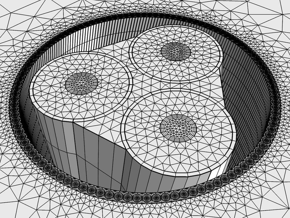Image of the swept mesh for the three-core cable model in COMSOL Multiphysics.