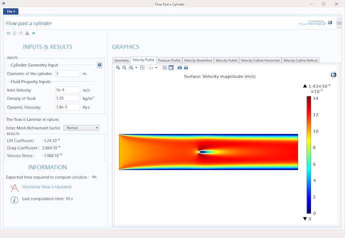 A simulation app for teaching transport phenomena, built using the Application Builder in COMSOL Multiphysics.