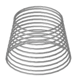 An image of a conical spring geometry, available as an option in the helical spring app.