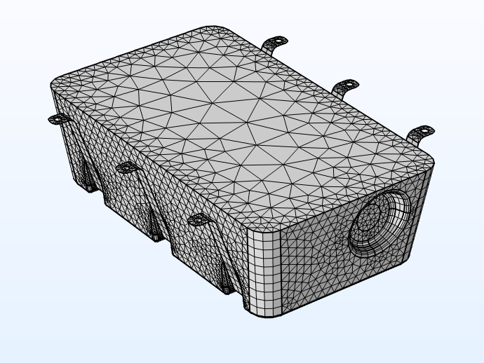 A fuel tank model mesh when using a multiphysics approach.