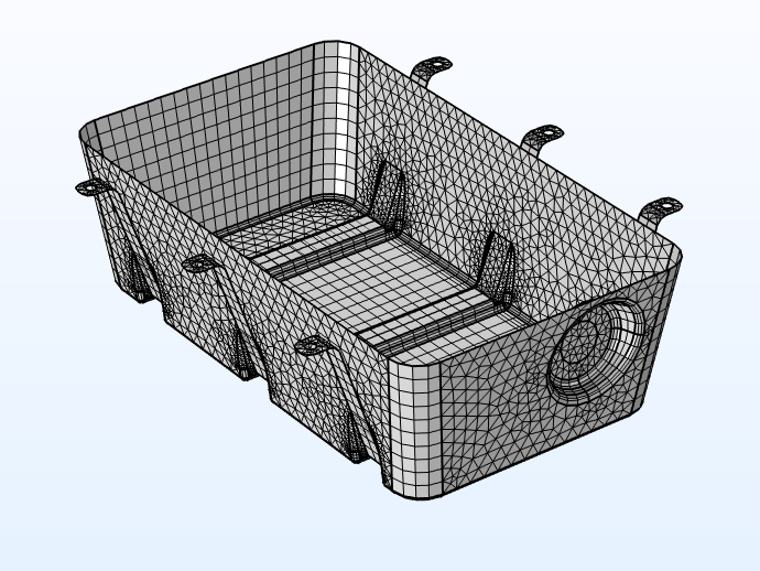 Mesh for a fuel tank modeled using a traditional approach.