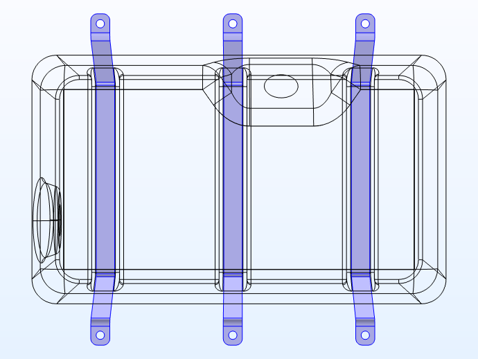 Model geometry of the fuel tank with the three steel straps highlighted.