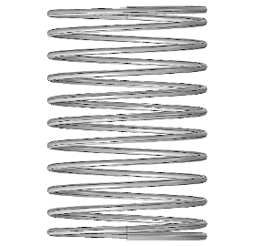 A helical spring with closed ends, available as an option in the helical spring app.