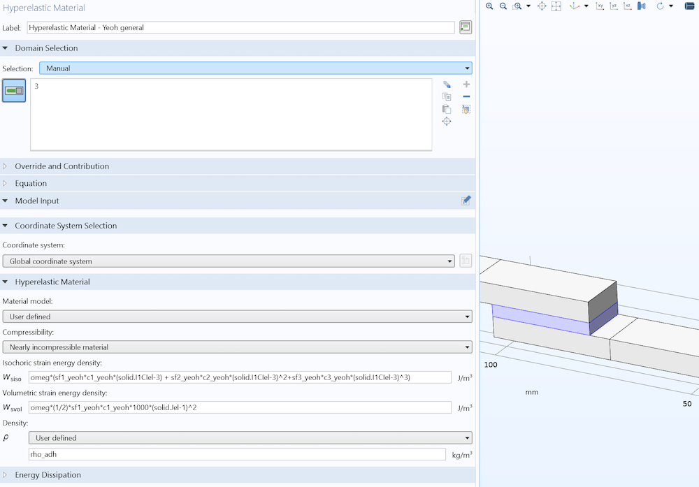 A screenshot of the Settings window used to define the hyperelastic material.