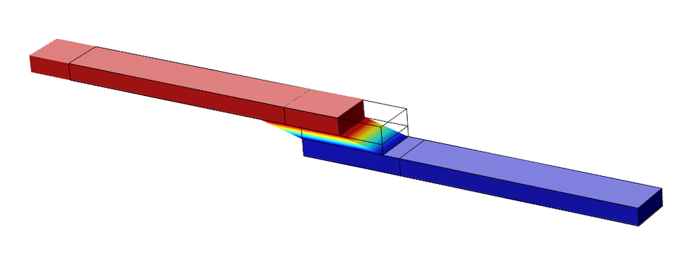 Simulation results for the lap joint shear test model, showing deformation.