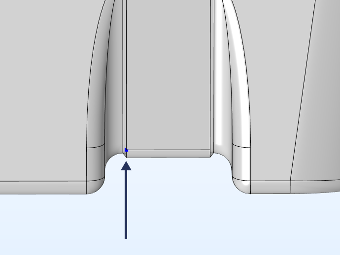 A zoomed-in view of the fuel tank model with the measuring point highlighted.