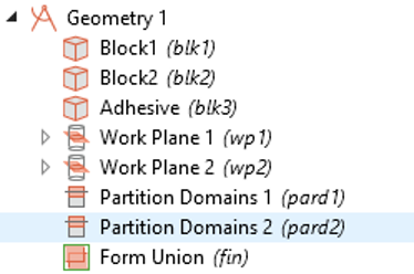 A screenshot showing the list of nodes for the lap joint shear test model geometry.