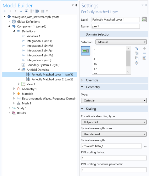 A screenshot of the settings for adjusting the perfectly matched layer (PML) wavelength in COMSOL Multiphysics.