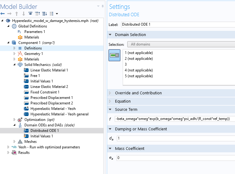 A screenshot of the Settings window for a Distributed ODE node in COMSOL Multiphysics.