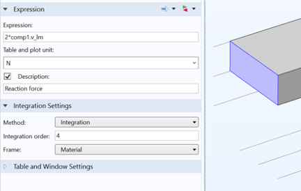 A screenshot showing how to enable integration over the surface of the prescribed displacement.