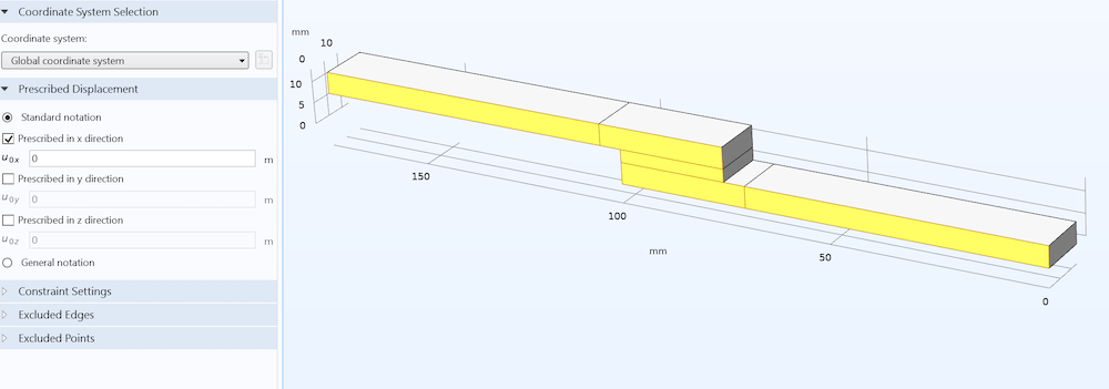 The settings and Graphics window for the hyperelastic model of the lap joint shear test, with an out-of-plane symmetry condition applied.