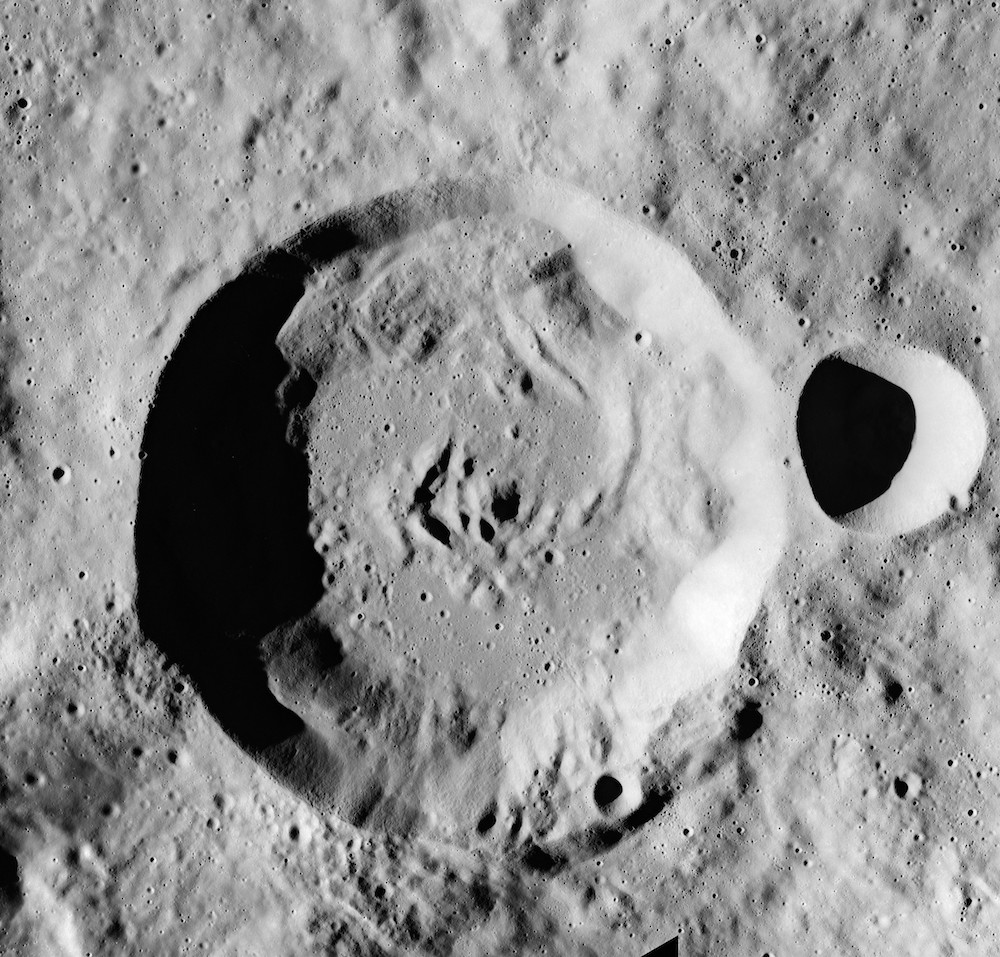 An image of the Moon zoomed in on the Tiselius crater, named after biochemist Arne Tiselius.