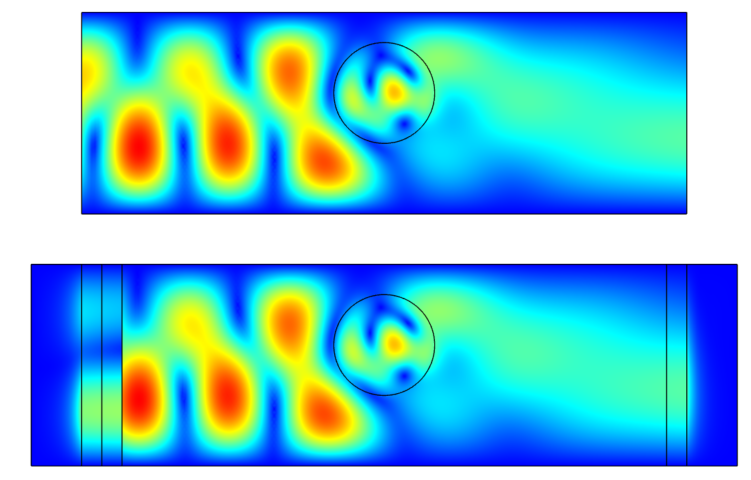 Stacked images showing the simulation results for a 2D waveguide when using multiple ports or a single interior port and PMLs.