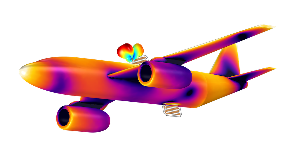 A high-quality model image generated in COMSOL Multiphysics, showing antenna crosstalk on an aircraft with a rainbow color table.