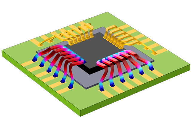 A square chip with bond wires, where thermal stresses are visualized in a blue, teal, magenta, and red color gradient.