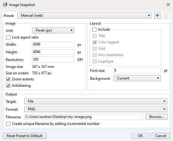 A screenshot of the export settings in the Image Snapshot dialog box.