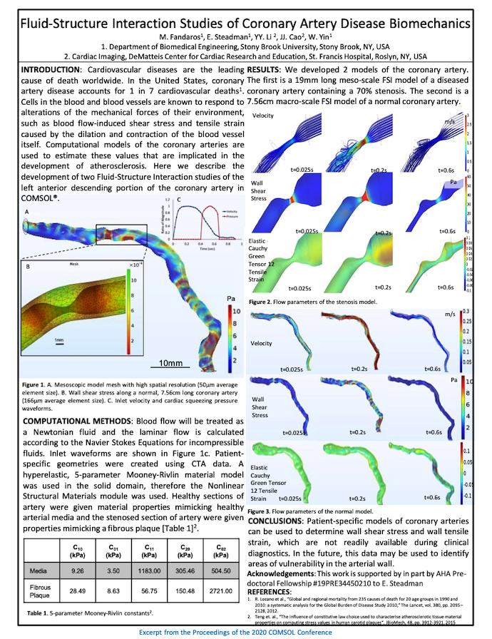 一张海报,显示研究人员如何在冠状动脉中研究流体结构相互作用。