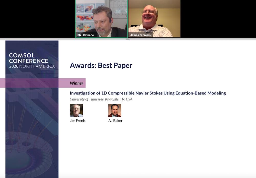 截图显示Comsol会议2020年北美的最佳纸上获奖者之一,接受了他的奖项。乐动滚球app下载