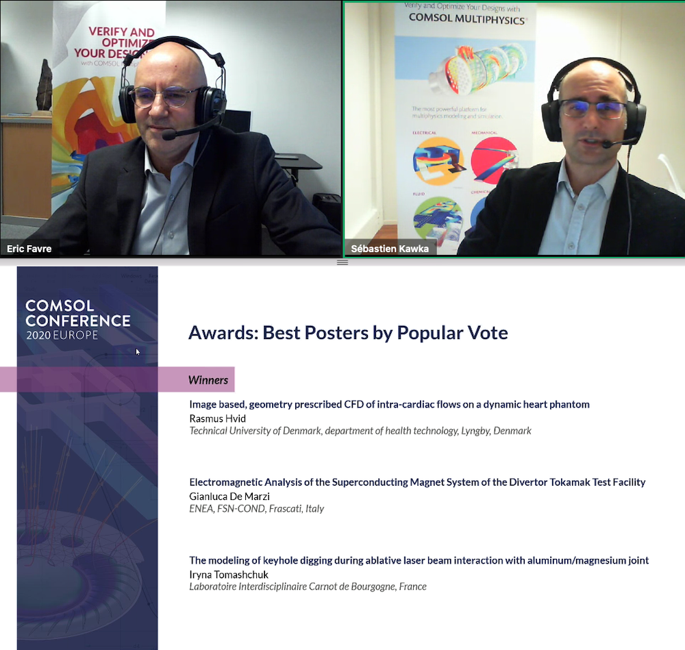 A screenshot of Eric Favre and Sebastien Kawka from COMSOL announcing the Best Poster by Popular Vote winners at the COMSOL Conference 2020 Europe.