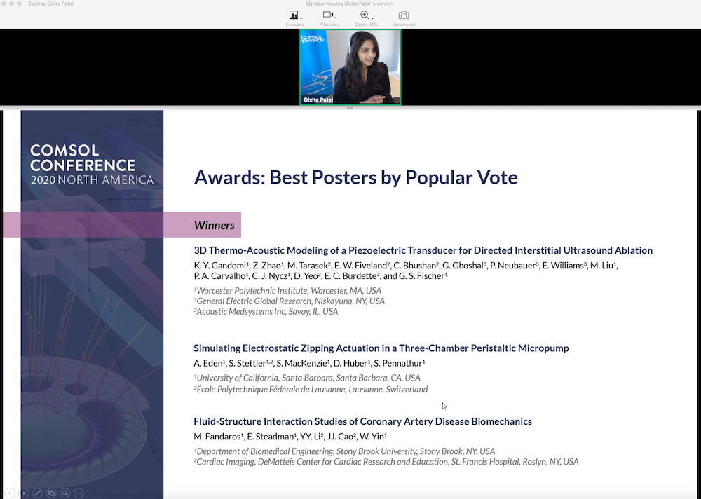 A screenshot showing the COMSOL Conference 2020 program chair virtually awarding the Best Posters by popular vote.