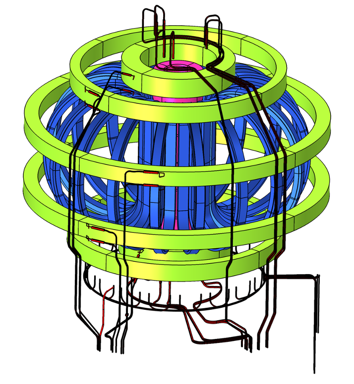 A model of the Divertor Tokamak Test magnet system and current feeders.