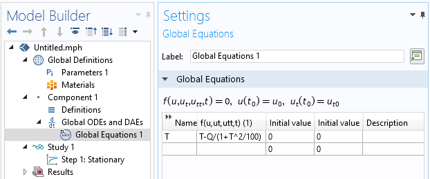 A screenshot of the Global Equation interface in COMSOL Multiphysics, with a residual to solve a nonlinear equation.