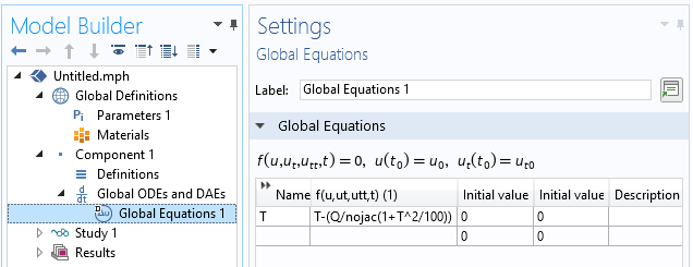 The Global Equations Settings window in COMSOL Multiphysics demonstrating how to use the nojac() operator.