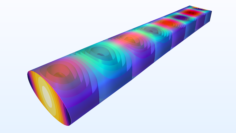 A plot showing the isosurfaces of the electric field in a transition for a type of rectangular waveguide. width=