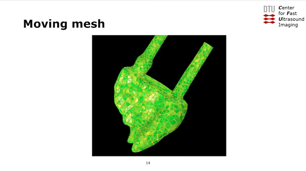 An image of the moving mesh used to model a heart phantom, taken from a screenshot from a recorded presentation at the COMSOL Conference.